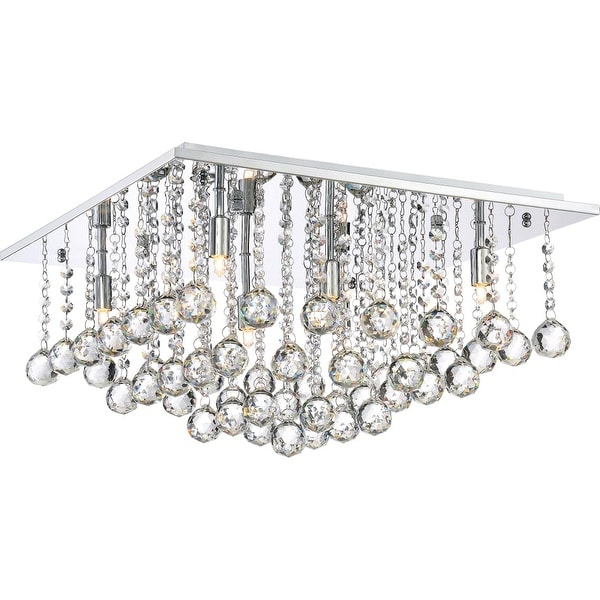 "Platinum BRX1620 Bordeaux 6-Light 20"" Wide Flush Mount Ceiling Fixture with Crystal Accents - Polished chrome"