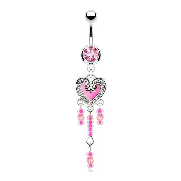 Beaded Vintage Epoxy Heart Dangle Navel Belly Button Ring 316L Surgical Steel (Sold Ind.)