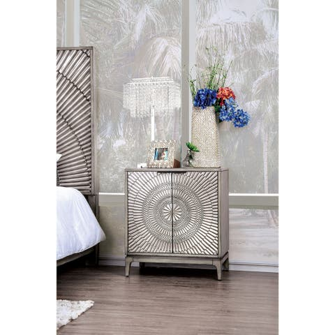 The Curated Nomad Levant Transitional Antique Grey 2-door Nightstand