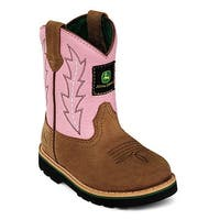 John Deere Girls Pink Camel Leather Western Boots Baby Toddler 4-8