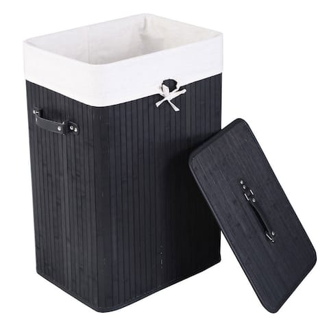 Bamboo Folding Laundry Hamper Basket with Cover