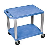 Offex Mobile Multipurpose Storage Utility Cart with 2 Blue Shelves, Nickel Leg - Electric