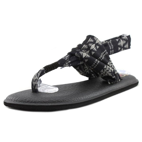 Sanuk Yoga Sling 2 Prints Women Open Toe Canvas Black Thong Sandal