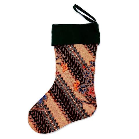 NOVICA Parang Holiday, Batik cotton stocking