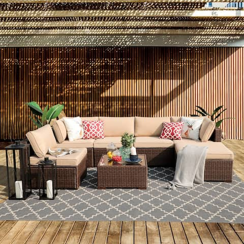 7 Piece Wicker Sofa Set Cushioned Sectional with Table