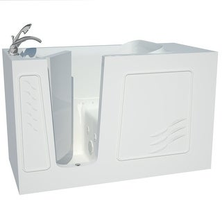 """Avano B3060LD Architect Series 60"""" Gel Coated Air / Whirlpool Bathtub for Alcove Installations with Left Drain, Roman Tub Faucet"""