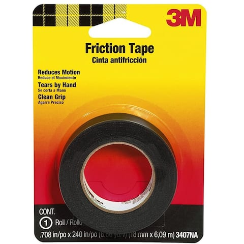 "Scotch 3407 Medium Grade Friction Tape, 0.75"" x 240"", Black"