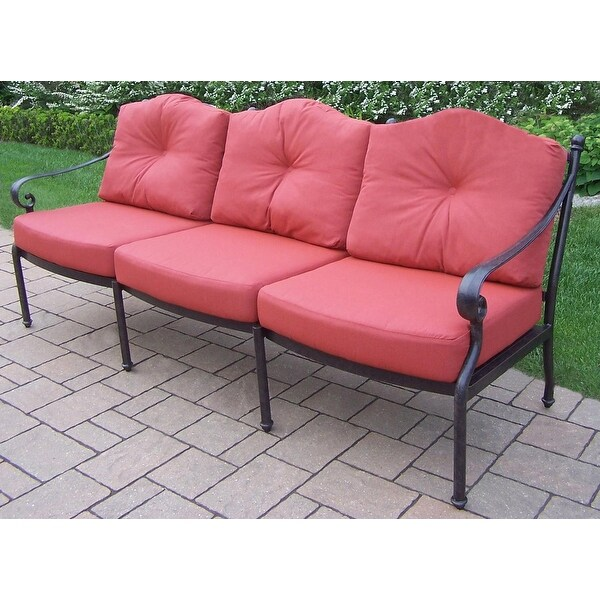 84.5u201d Durable Weather Resistant Aluminum Outdoor Patio Sofa With Cushions