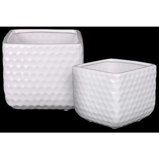 Ceramic Square Shaped Vase With Engraved Diamond Pattern, Set Of 2, White