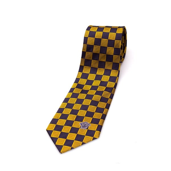Versace Collection Men Slim Silk Neck Tie B0899 Navy Blue Gold