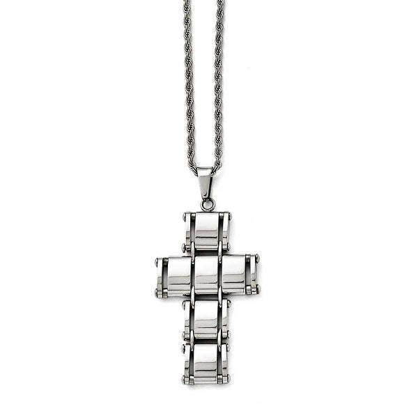 Chisel Stainless Steel Polished Moveable Cross Necklace - 22 in