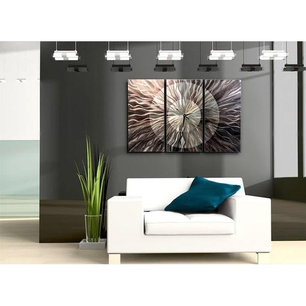 """Statements2000 Silver/Grey Metal Wall Clock Functional Art by Jon Allen- Obsidian Burst - 38"""" x 24"""". Opens flyout."""