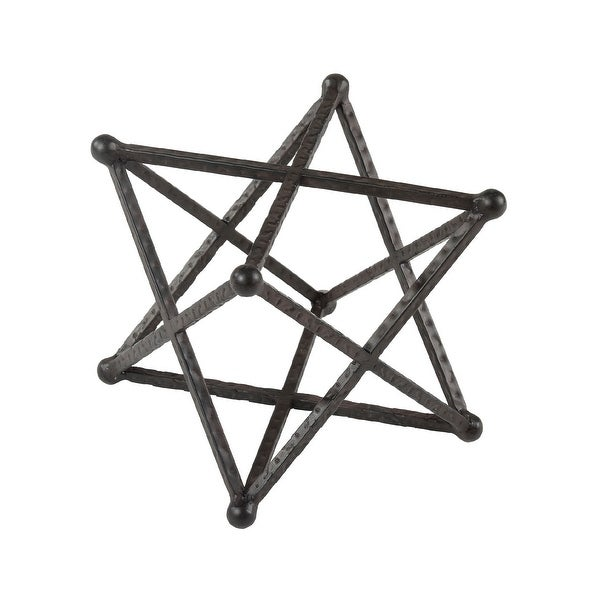 """7"""" Brown and Bronze Spangled Metal Star Table Top Decoration - N/A"""