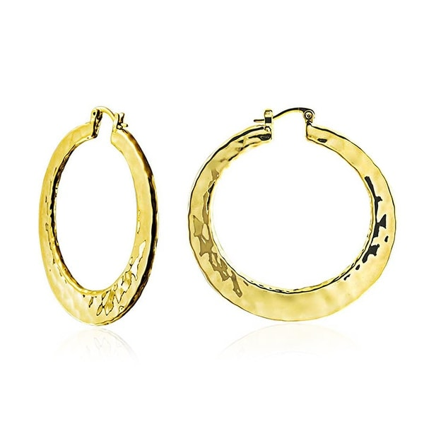 Shop Large Hammered Flat Hoop Earrings For Women Gold Plated Brass 2 Inch  Dia - On Sale - Free Shipping On Orders Over  45 - Overstock - 17986444 779aa3689165