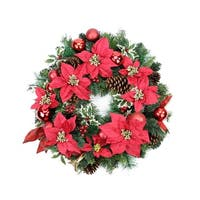 "24"" Pre-Decorated Red Poinsettia, Pine Cone and Ball Artificial Christmas Wreath - Unlit"