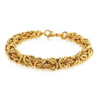 Bling Jewelry Stainless Steel Gold Plated Twisted Rope Byzantine Bracelet