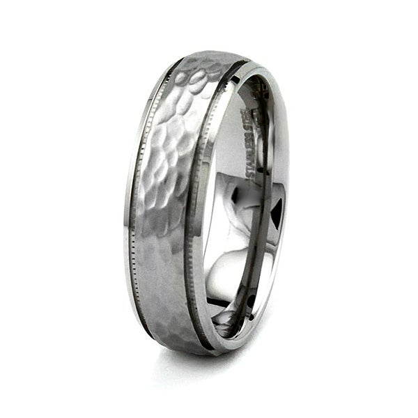 Satin Finished Hammered Stainless Steel Ring 7mm (Sizes 6-12)