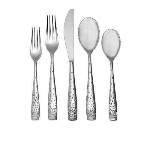 Nambè Tilt Dazzle 45-Piece Flatware Set Service for 8 Plus Butter Knife, Sugar Spoon and 3 Piece Hostess Set
