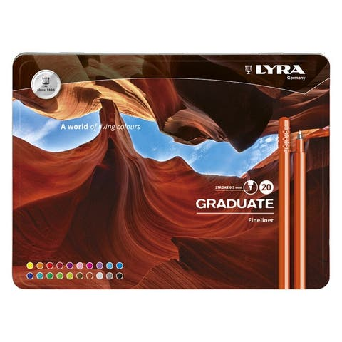 Lyra Graduate Fineliner Markers, 0.5 mm, Assorted, Set of 20