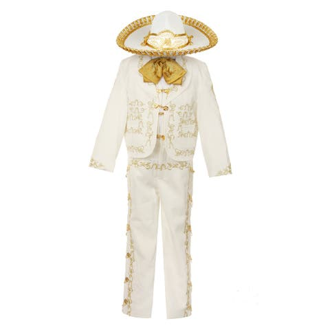 Rain Kids Boys Ivory Rooster Embroidery Elegant 6 Pc Charro Suit