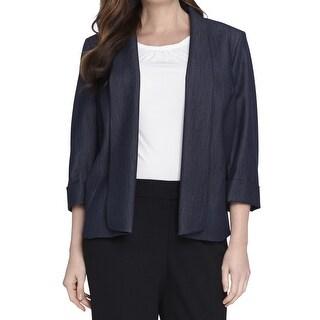 Tahari By ASL NEW Blue Women Size 24W Plus Three-Button Chambray Jacket