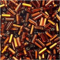 Czech Glass Bugle Beads, Cylinder Size 2 '4.5mm', 24 Gram Tube, Dark Topaz S/L