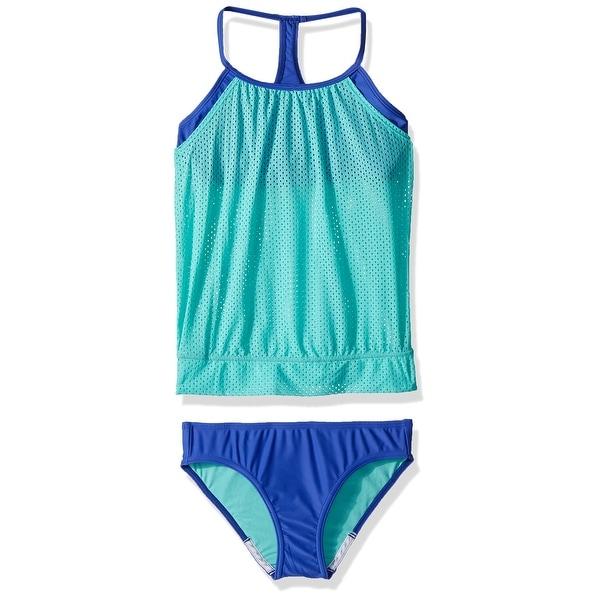 81e5a4e987ed3 Speedo Mint Blue Girl's Size 16 Tankini Set Mesh Popover Swimwear