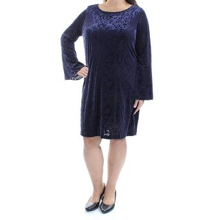 Womens Purple Bell Sleeve Above The Knee Shift Casual Dress Size: XL