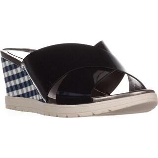 Easy Spirit Hartlyn Comfort Wedge Sandals, Navy Patent