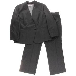 Tahari ASL Womens Plus Reena Pinstripe Double-Breasted Pant Suit - 22W