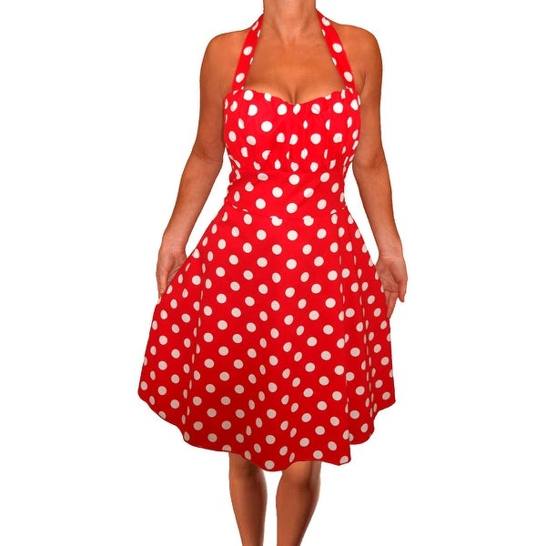 Funfash Plus Size Women Red White A Line Polka Dots Dress Made in USA