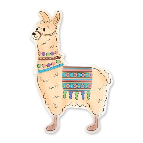 Set of 12 Beige Llama Party Poster 40 - N/A