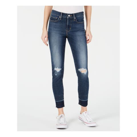 LEVI'S Womens Blue Frayed Skinny Jeans Size 32 Waist