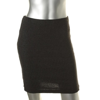 Three Dots Womens Ribbed Knit Split Sides Pencil Skirt