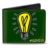 Electric Company Light Bulb #Genius + Monopoly Green Yellows Bi Fold Wallet - One Size Fits most