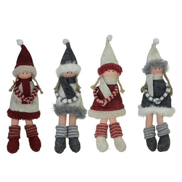 Set of 3 Plush Red Gray and Beige Winter Girls Christmas Doll Ornament Decorations 12""