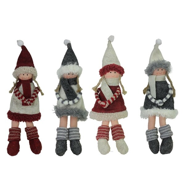 set of 4 plush red gray and beige winter girls christmas doll ornament decorations 12 - Overstock Christmas Decorations