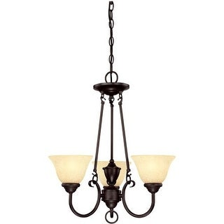 Westinghouse 6222400 Elena 3 Light Single Tier Up Lighting Chandelier with Antique Amber Glass Shades - Gold