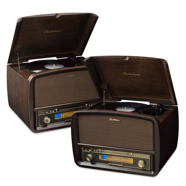 Electrohome Signature Vinyl Record Player Classic Turntable Hi-Fi Stereo System with AM/FM, CD & AUX - 2 PACK