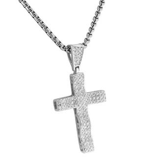 """Sterling Silver Cross Designer Pendant Iced Out Lab Diamonds 24"""" Chain"""