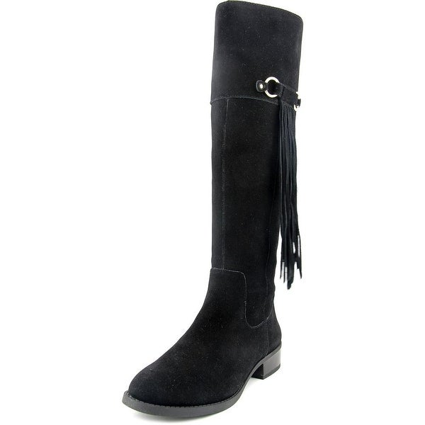 INC International Concepts Fayer Widecalf Women Leather Black Knee High Boot