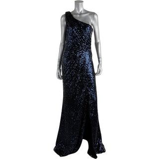 Badgley Mischka Womens Mesh One Shoulder Semi-Formal Dress