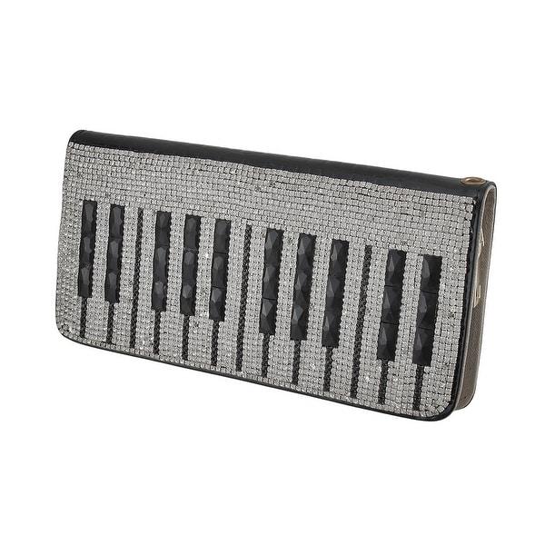 Sparkling Rhinestone Piano Keys Glossy Black Mock Croc Clutch Wallet