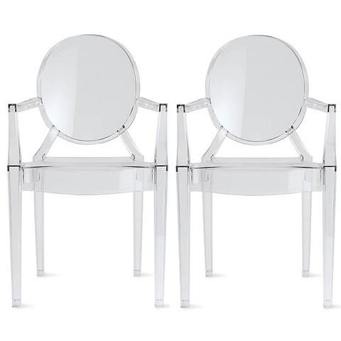 Set of 2 Clear Modern Plastic Dining Chair Armchairs For Kitchen With Arms Outdoor Indoor Transparent Work Desk Bedroom