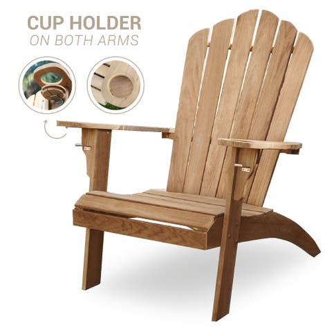 Cambridge Casual Sherwood Oversized Teak Adirondack Chair with Cup Holder