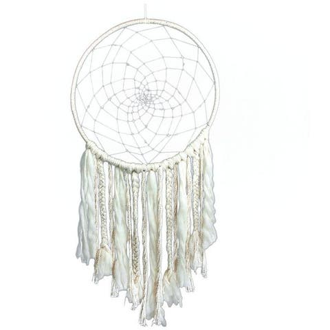 """The Curated Nomad Handmade Bohemian Macrame Dreamcatcher Wall Art - 45"""" x 18"""""""