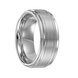 FREEMAN Step Edge White Tungsten Carbide Ring with Raised Brushed Center and Polished Offset Grooves by Triton Rings - 9 mm