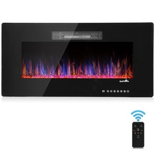 GoFlame 36'' Recessed Electric Fireplace, In-wall& Wall Mounted & standing Electric Heater, Remote Control,Touch screen,