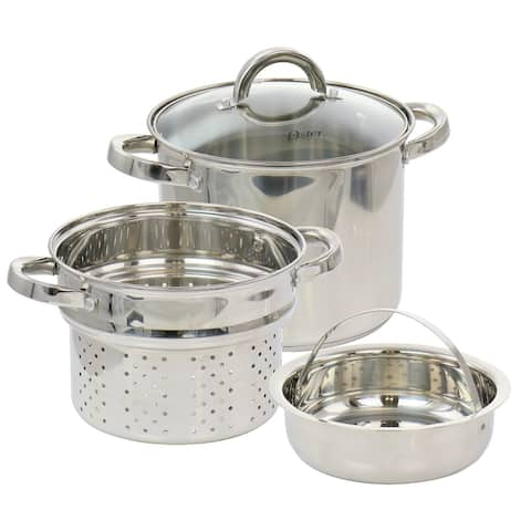 Oster Sangerfield 4 Piece 5 Quart Stainless Steel Pasta Pot with Lid