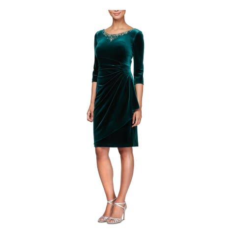 ALEX EVENINGS Green 3/4 Sleeve Above The Knee Dress 14